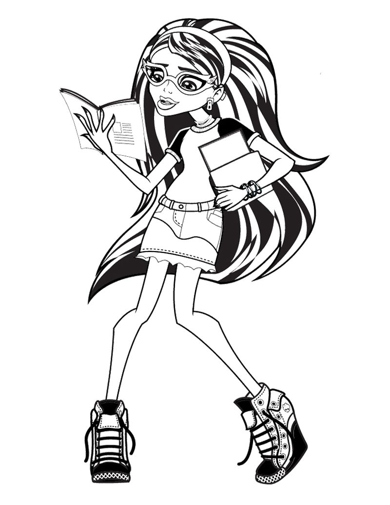 800x1034 Ghoulia Yelps Monster High Reading Book Coloring Page Monster