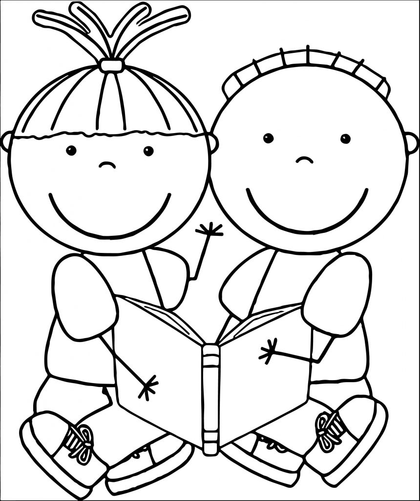 860x1024 Kids Reading Books Coloring Pages