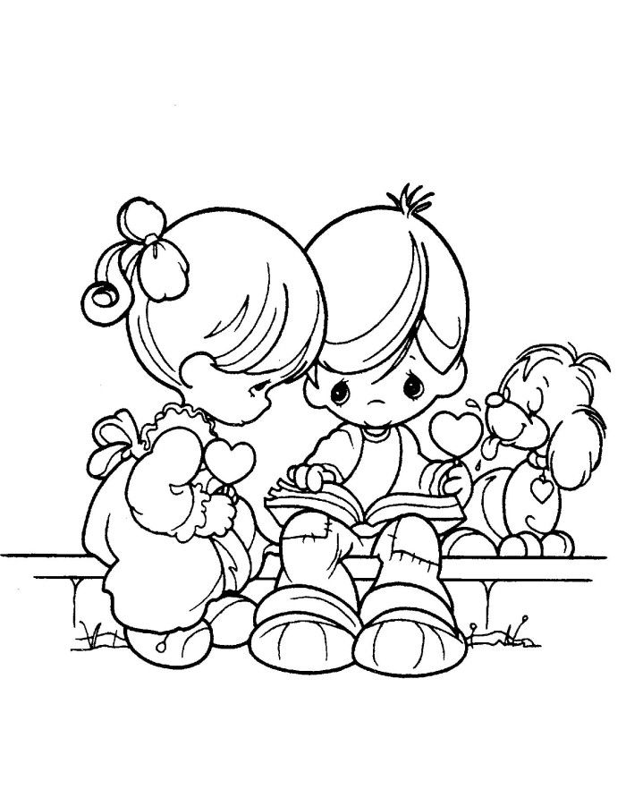 700x882 Precious Moments Boy And Girl Reads Book Coloring Pages Precious