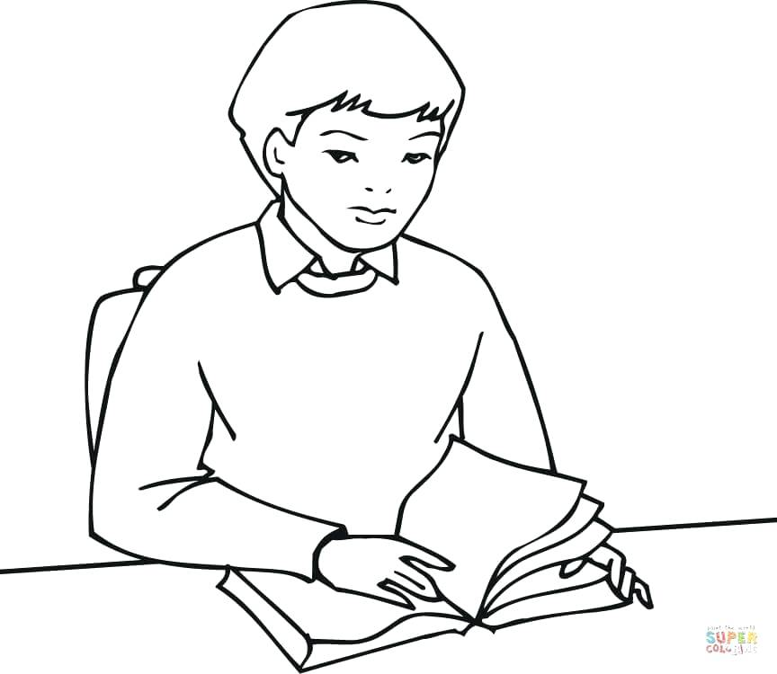 864x750 Books Coloring Pages Click The A Boy Student Reading A Book