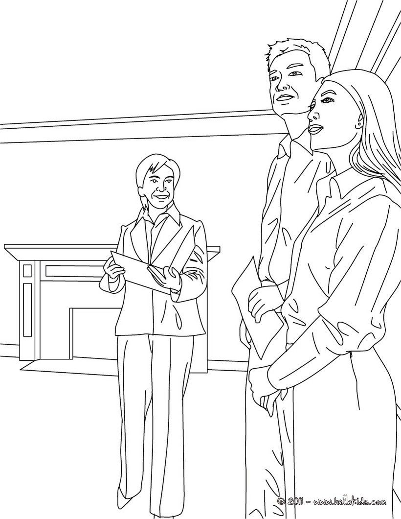 820x1060 Real Estate Agent With House Buyers Coloring Page Add Some Colors