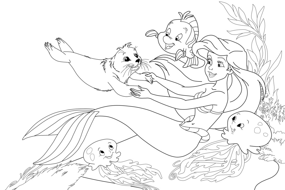 1093x731 Mermaid Cartoon Coloring Pages Of Mermaids