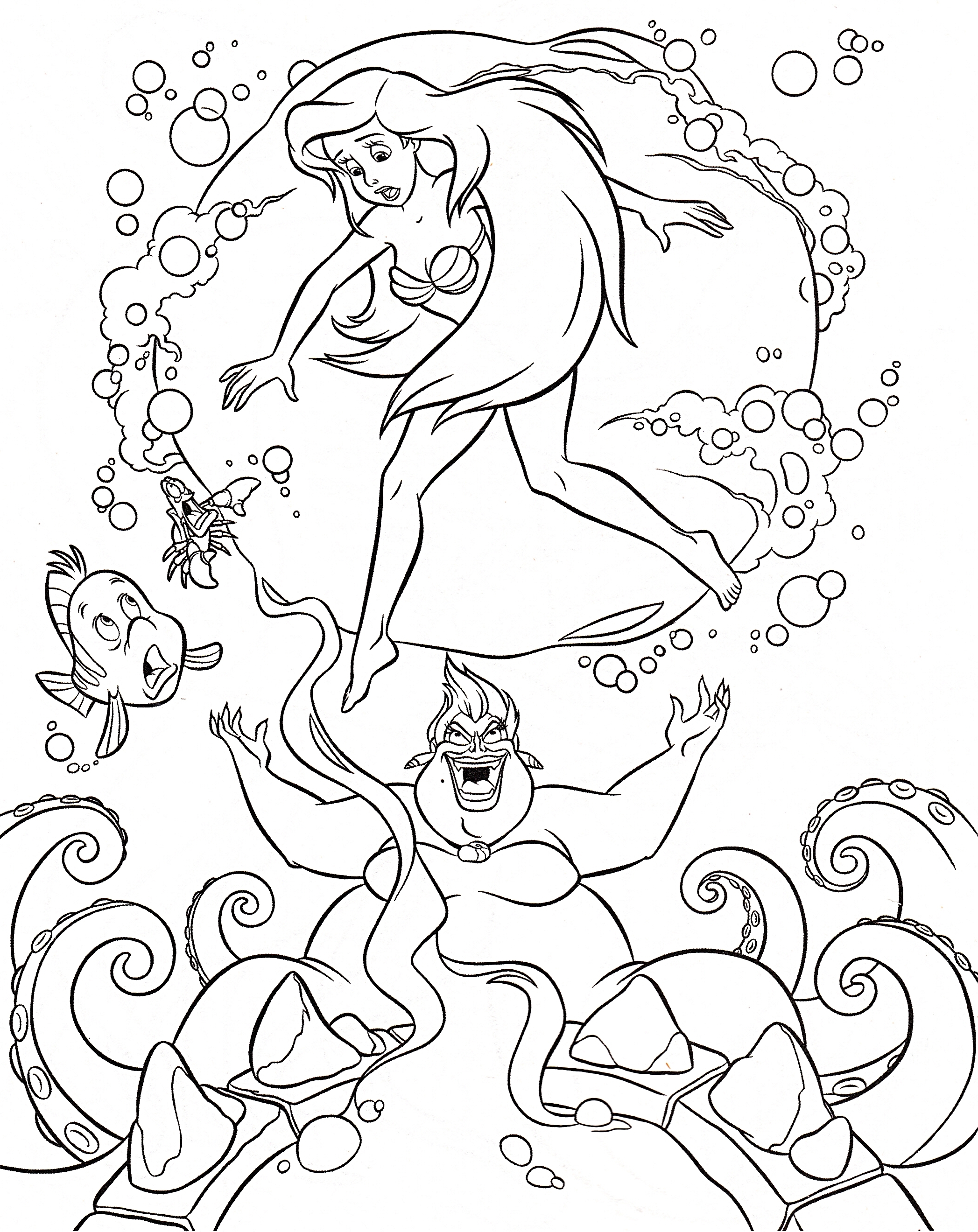 2095x2640 Walt Disney Coloring Pages Flounder Sebastian Princess Ariel Free