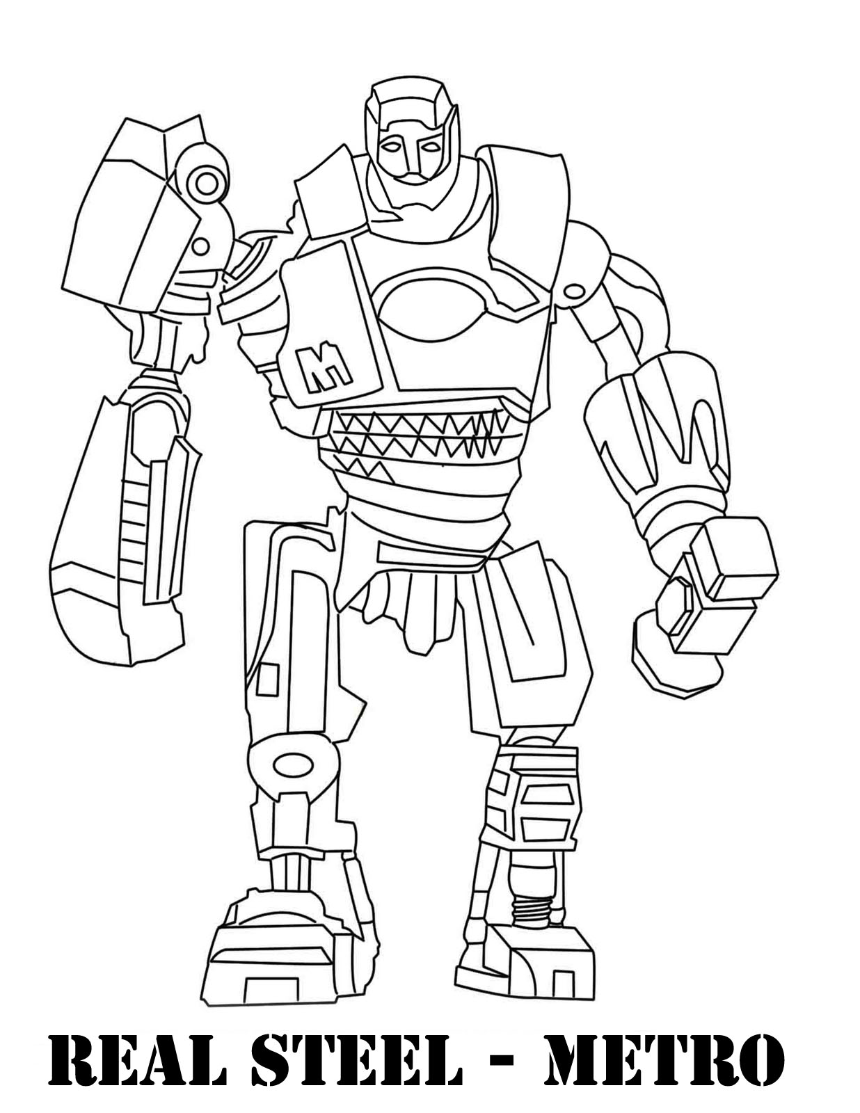 1236x1600 Real Steel Coloring Pages