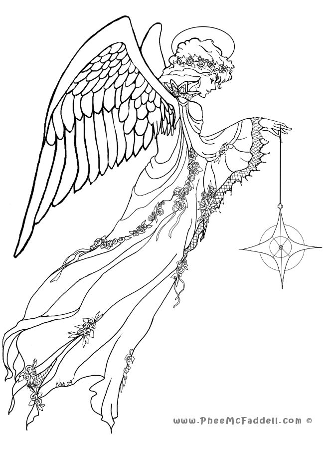 Realistic Angel Coloring Pages at GetDrawings.com | Free for ...