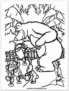 227x300 Masha And The Bear Coloring Pages Stock Masha And The Bear