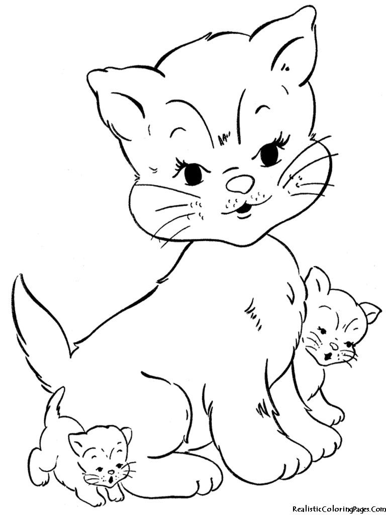 768x1024 Free Printable Realistic Cat Coloring Pages