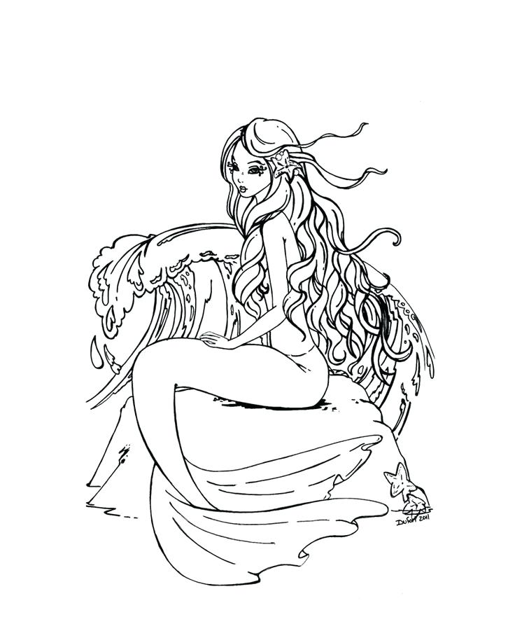 736x891 Free Mermaid Coloring Pages Adult Printable Realistic Mermaid
