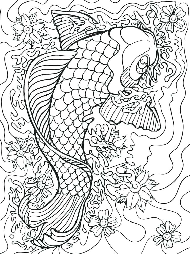 750x1000 Koi Fish Coloring Pages Carp Fish Coloring Page Adult Coloring