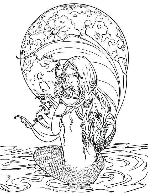 564x736 Mermaid Coloring Pages Realistic Vanda