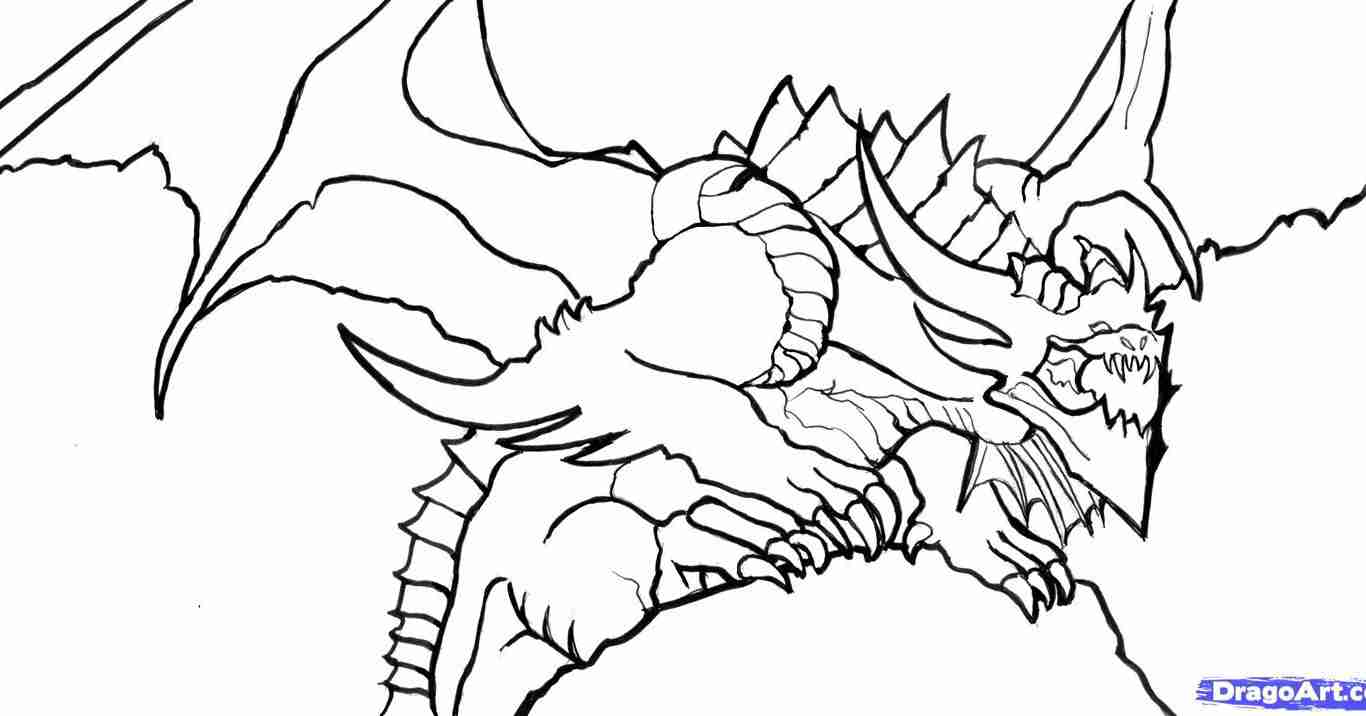 1366x716 Big Realistic Coloring Pages Of Dragons Dragon