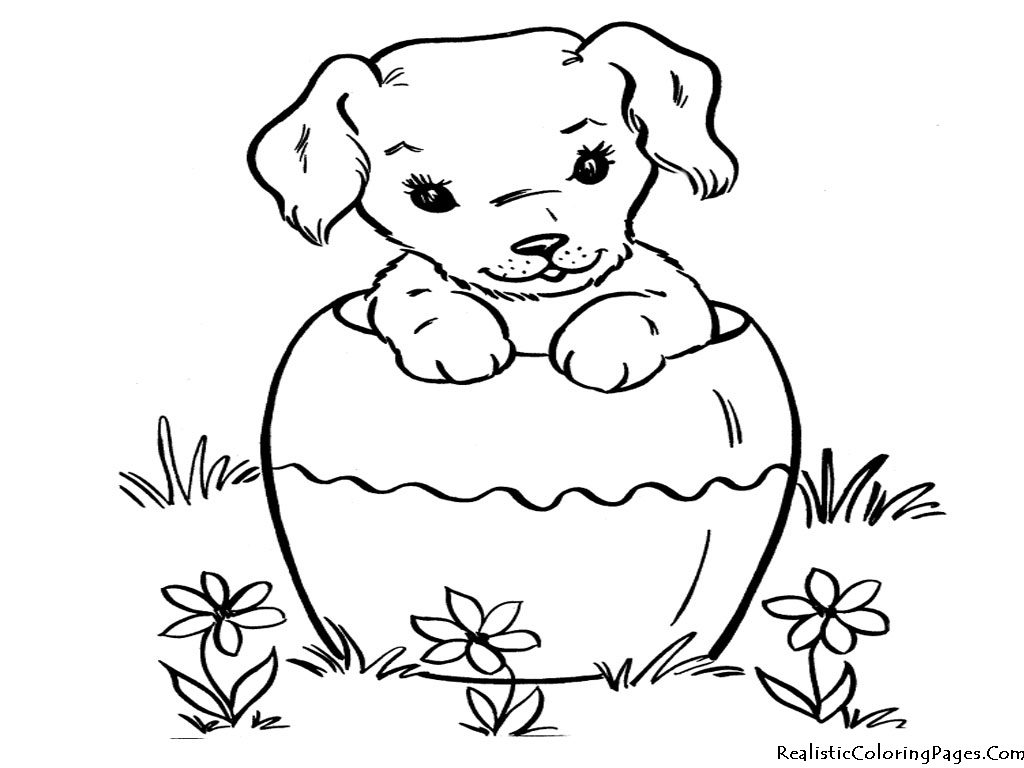 1024x768 Puppy Coloring Pages