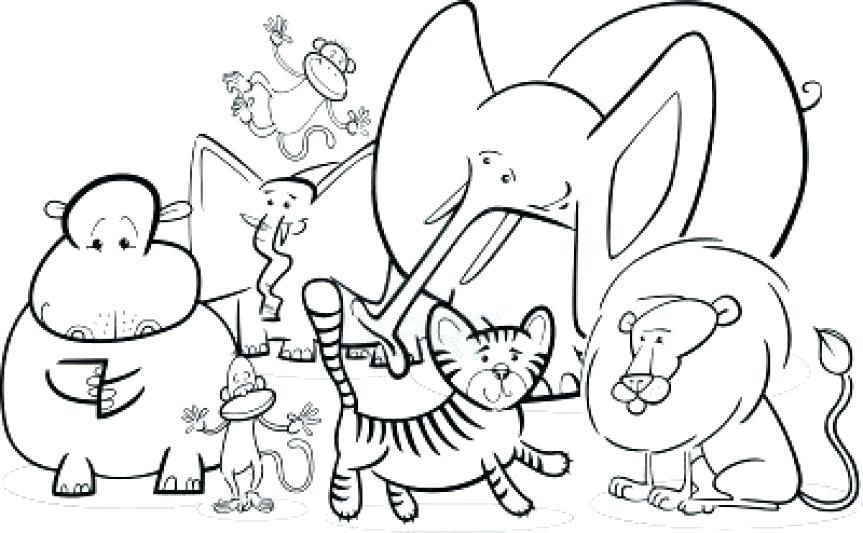 863x533 Wild Animal Coloring Pages Jungle Animals Free Realistic Cute