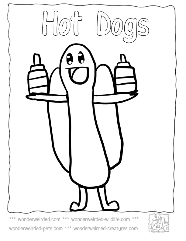 612x792 Food Coloring Pages Cartoon Hot Dog