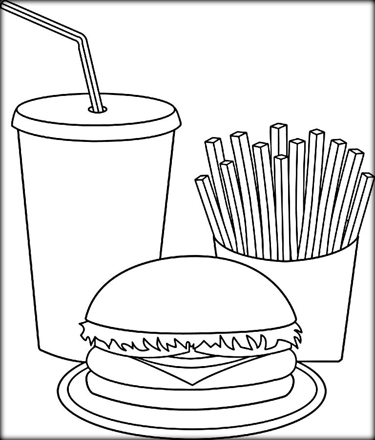 768x899 Free Coloring Pages For Kids And Adults Printable Fast Food