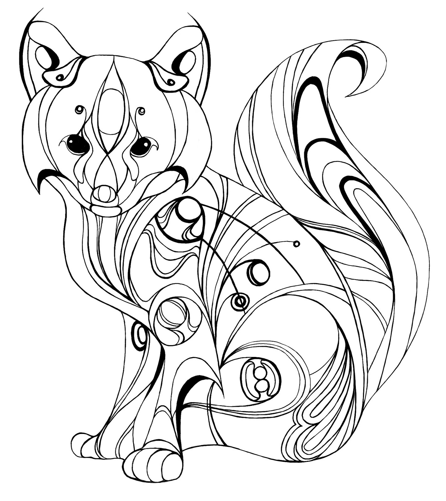 1425x1600 Realistic Fox Coloring Pages