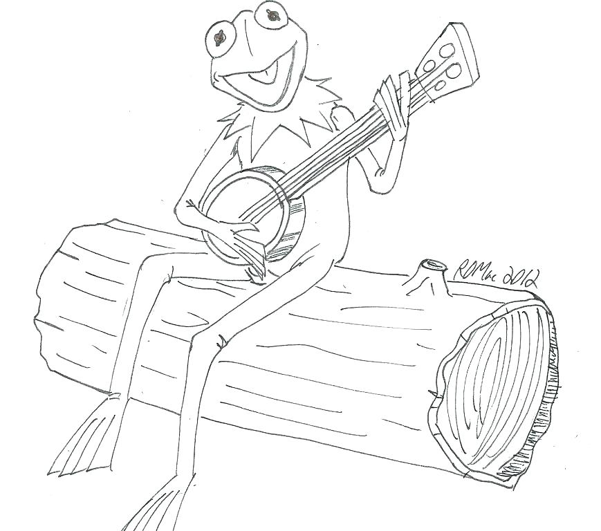 869x768 Kermit Coloring Page