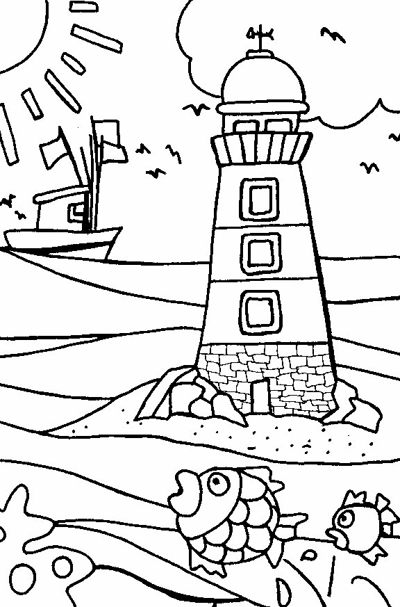 576x873 Lighthouse Coloring Pages Beach Coloring Pages Lighthouse