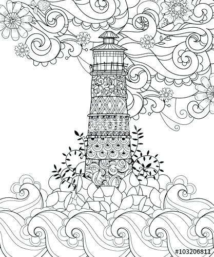 417x500 Lighthouse Coloring Pages Zen Tangle Lighthouse Adult Coloring
