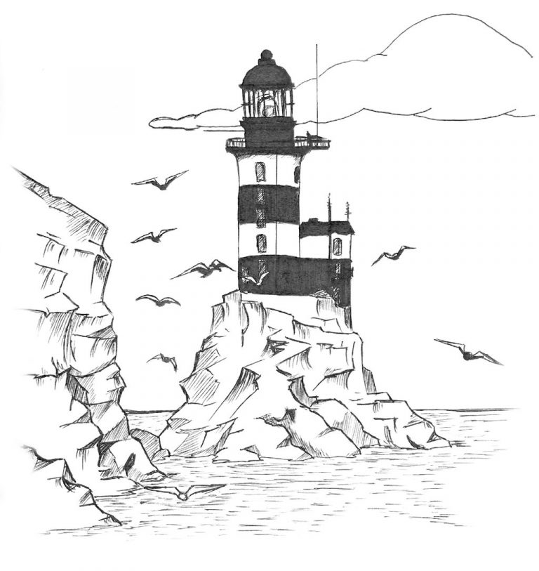 768x813 Realistic Lighthouse Coloring Pages