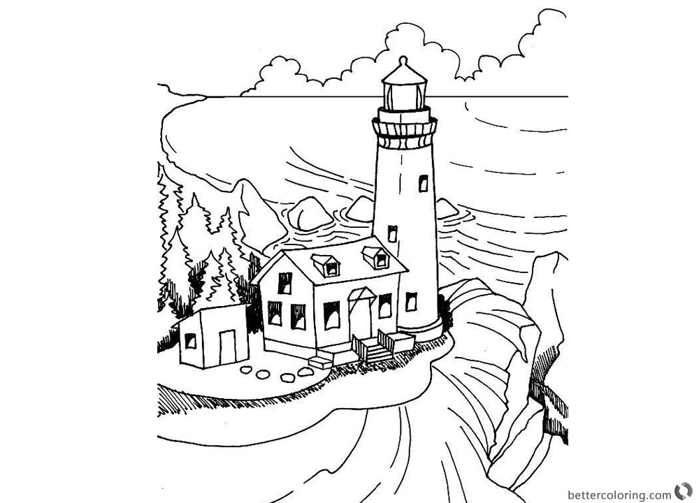 1000x720 Realistic Lighthouse Coloring Pages Black And White