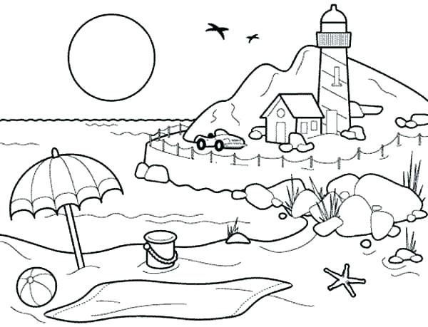 600x459 Lighthouse Coloring Beach Coloring Pages In Addition To Landscapes