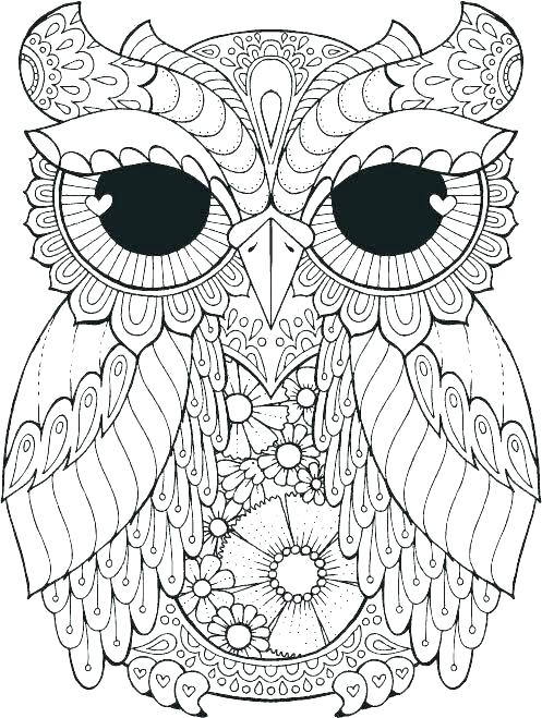 497x659 Great Horned Owl Coloring Page Realistic Bird Coloring Pages