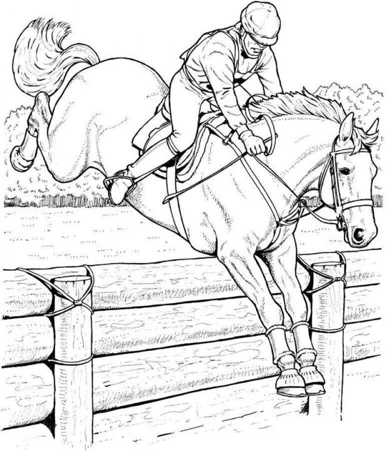 777x900 Online Adult Coloring Pages Of Jumping Horse Animal Coloring