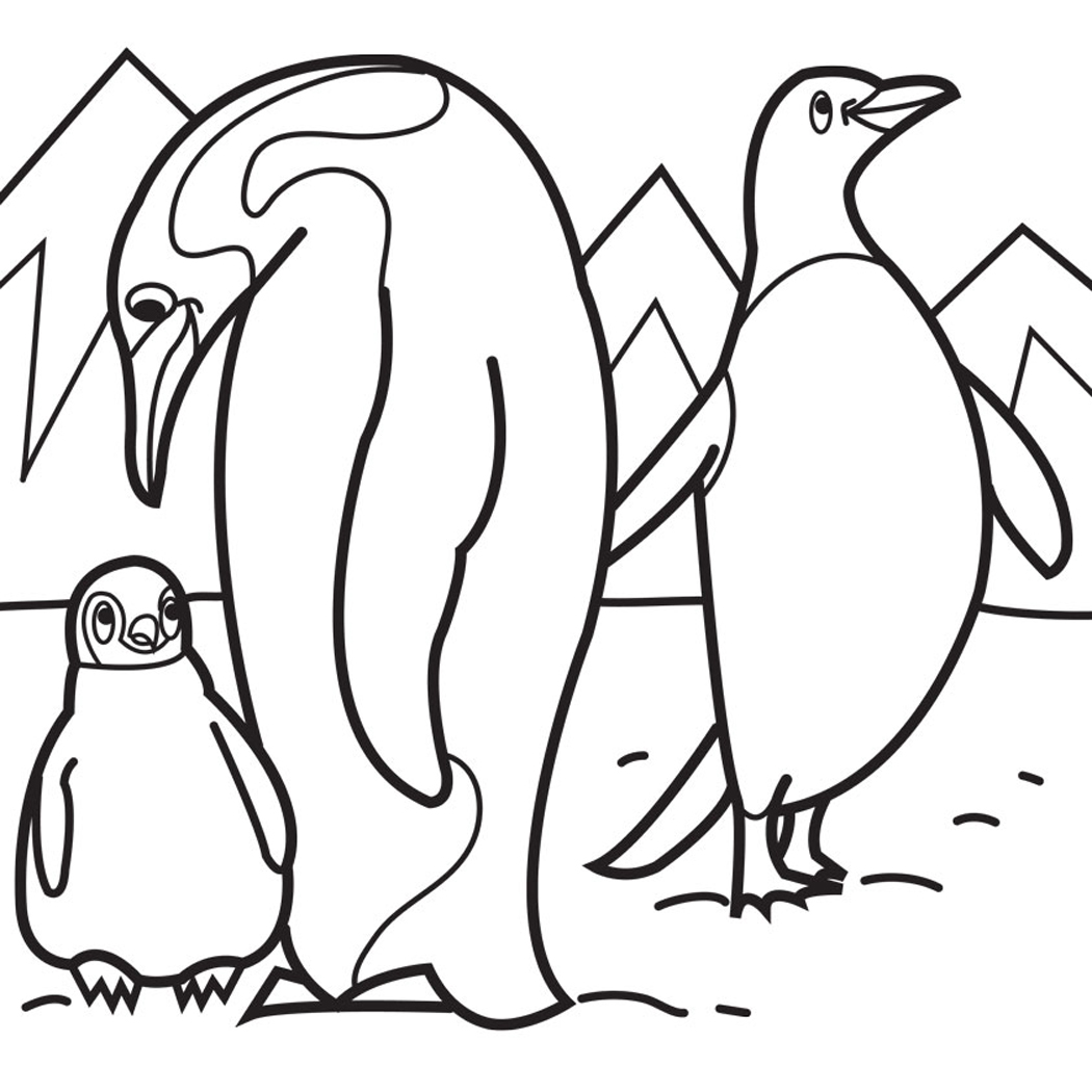 1050x1050 Penguin Coloring Pages