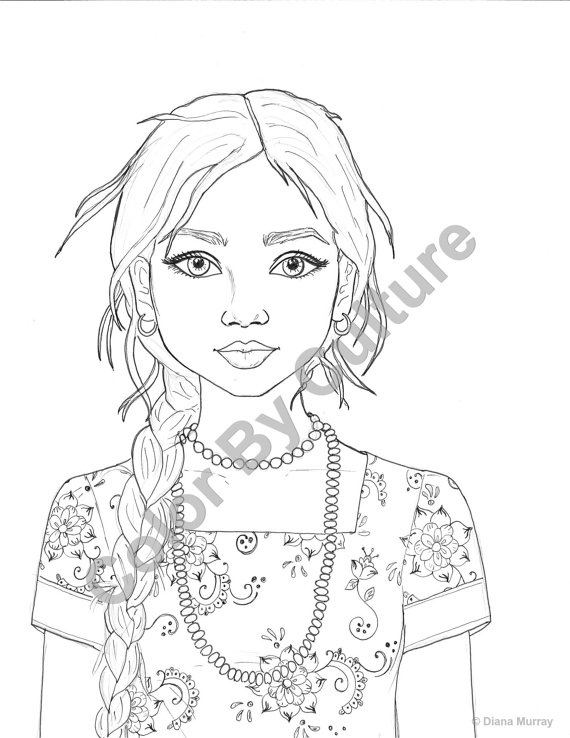 570x738 Realistic Girl Coloring Pages