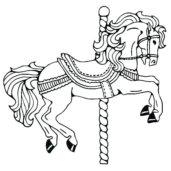 600x600 Horse Coloring Pages To Print Horse Pages To Color Carousel Horse