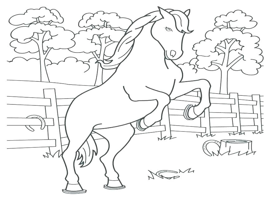 870x653 Rearing Horse Coloring Pages
