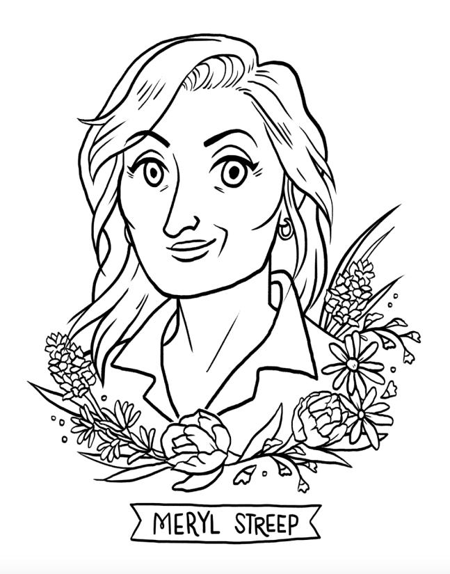 647x825 Meryl Streep Coloring Activity