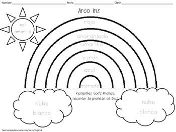 350x263 Rainbow Spanish Religious Printable Coloring Sheet Free
