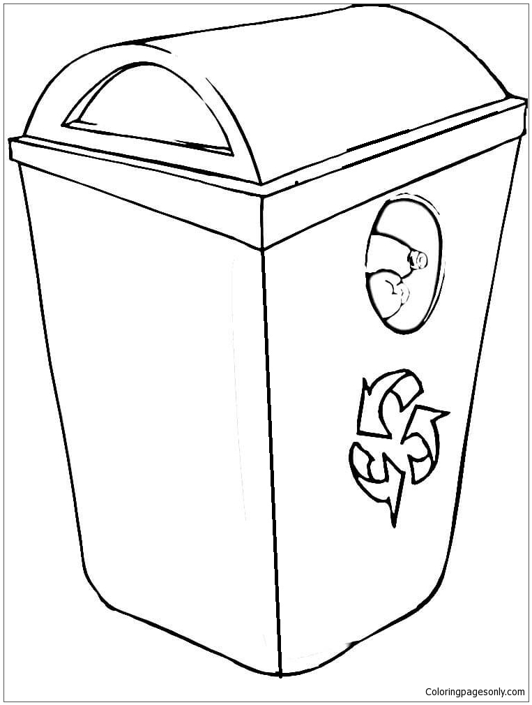 763x1010 Recycling Bin Coloring Page
