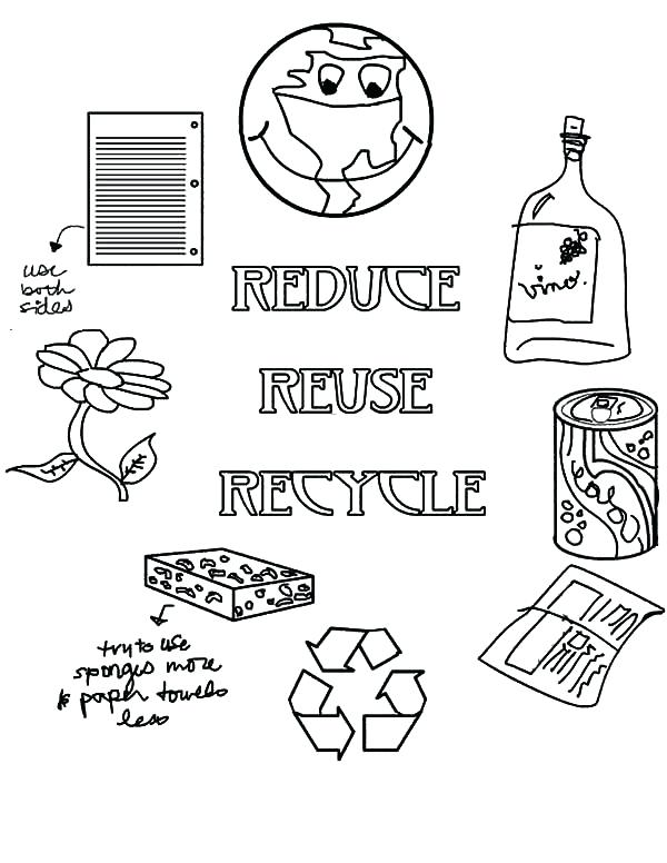 600x776 Reduce Reuse Recycle On Earth Day Coloring Page Color Reduce Reuse