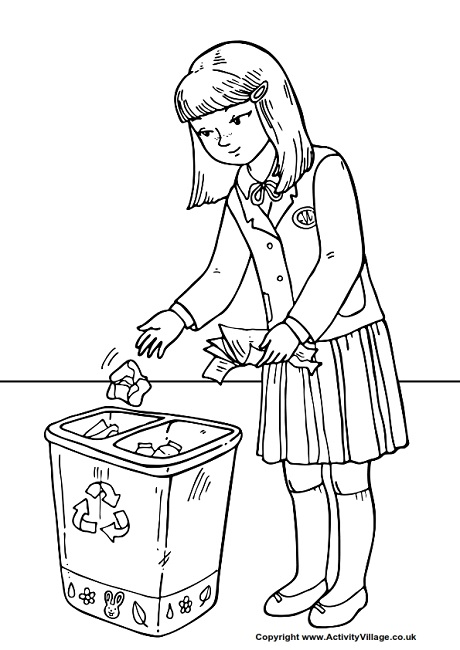460x650 Throw Litter In The Bin Colouring Page
