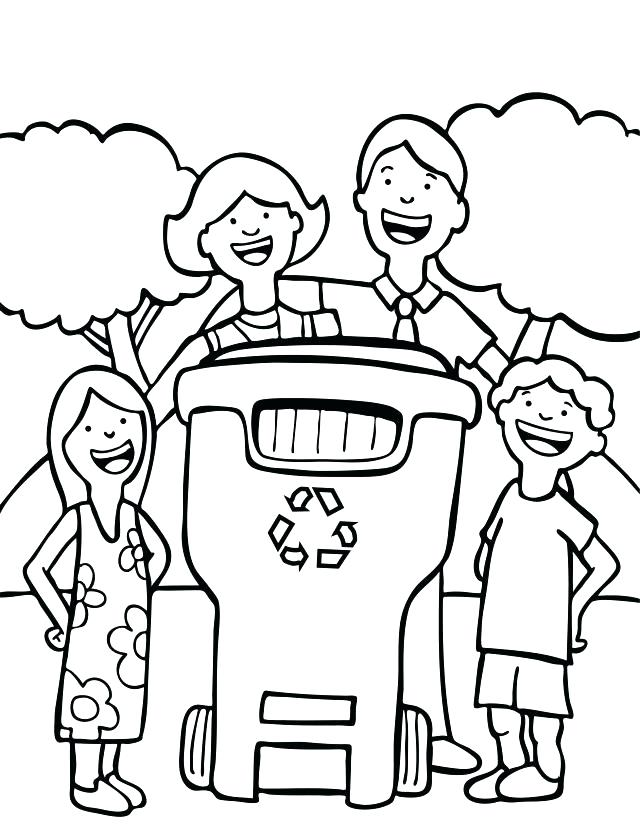 640x833 Recycling Coloring Pages Kid With Recycling Box Recycling Coloring