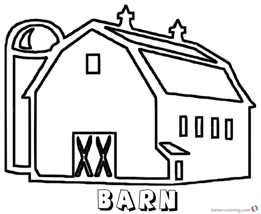 1000x820 Easy Barn Coloring Page Successful Red Free Pr