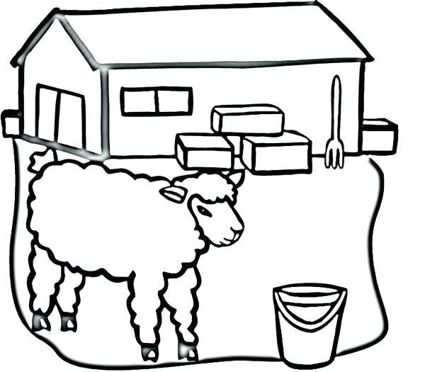 600x525 Red Barn Coloring Page Professional