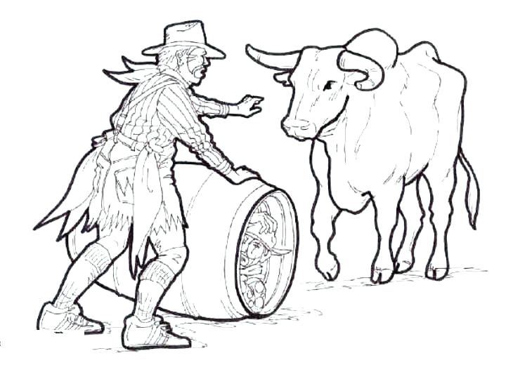 720x540 Bull Coloring Pages Rodeo Coloring Pages Rodeo Clown With Bull