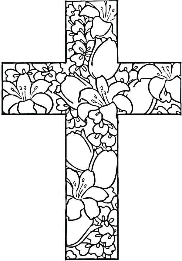 600x862 Cross Color Page Cross Coloring Sheets Easter Cross Coloring Pages