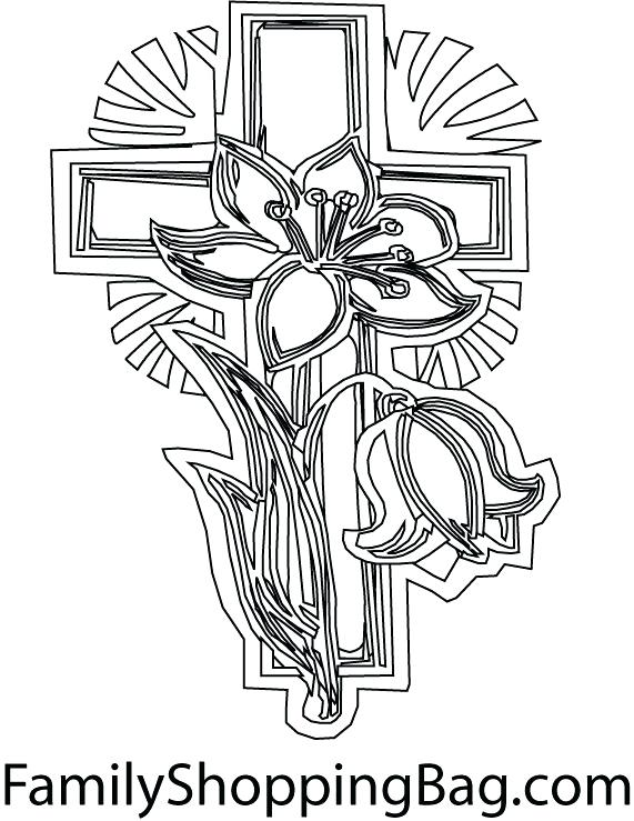 571x739 Cross Coloring Pages Printable Cross Coloring Page Flower Pattern