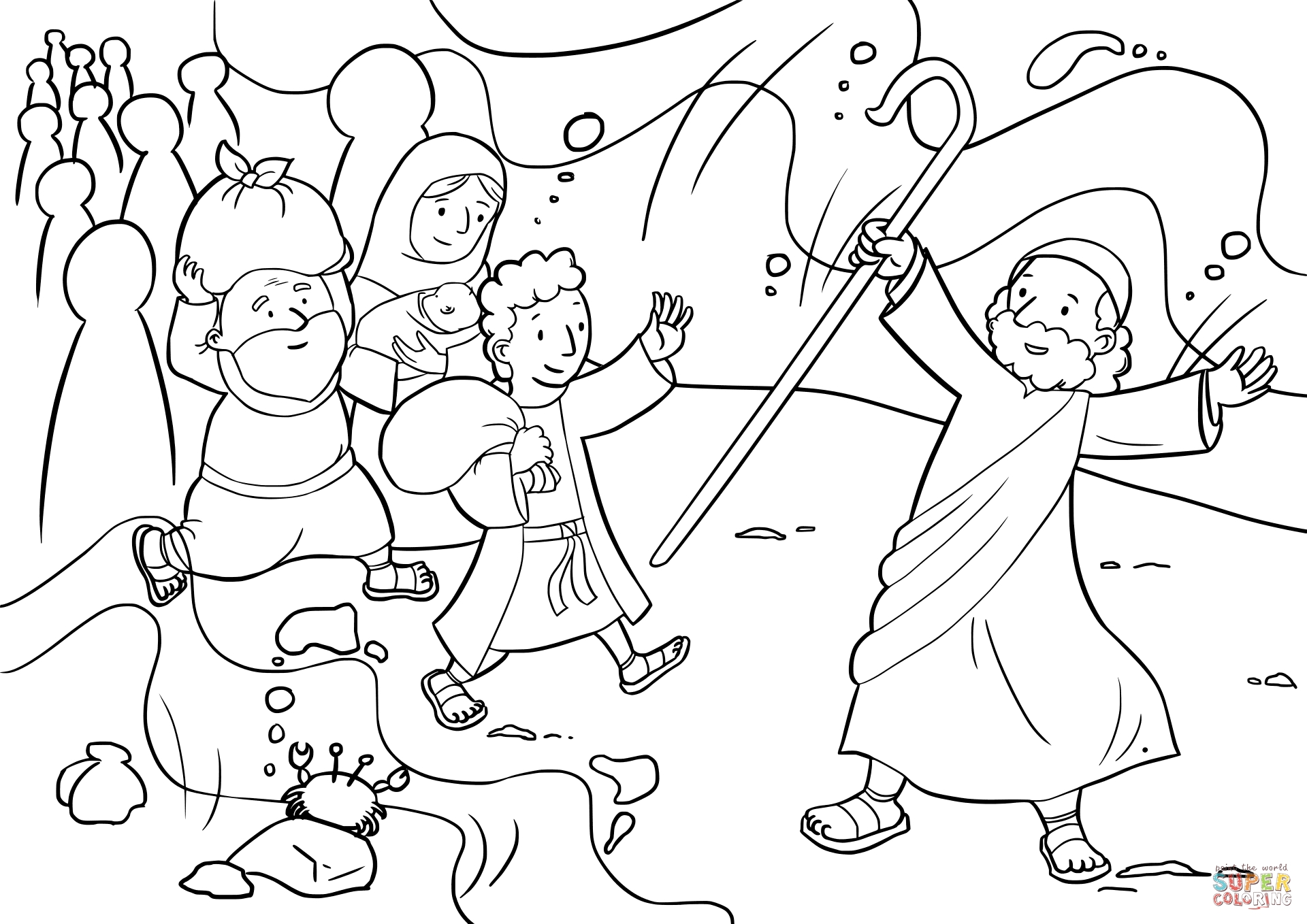 1920x1358 Moses Red Sea Coloring Page Download