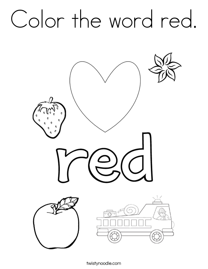 685x886 Color The Word Red Coloring Page
