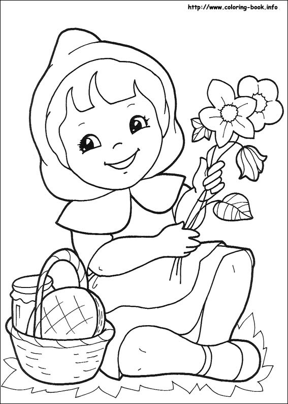 567x794 Little Red Riding Hood Coloring Picture