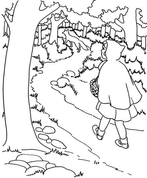 600x728 Red Riding Hood Walking In The Jungle Coloring Pages Batch Coloring