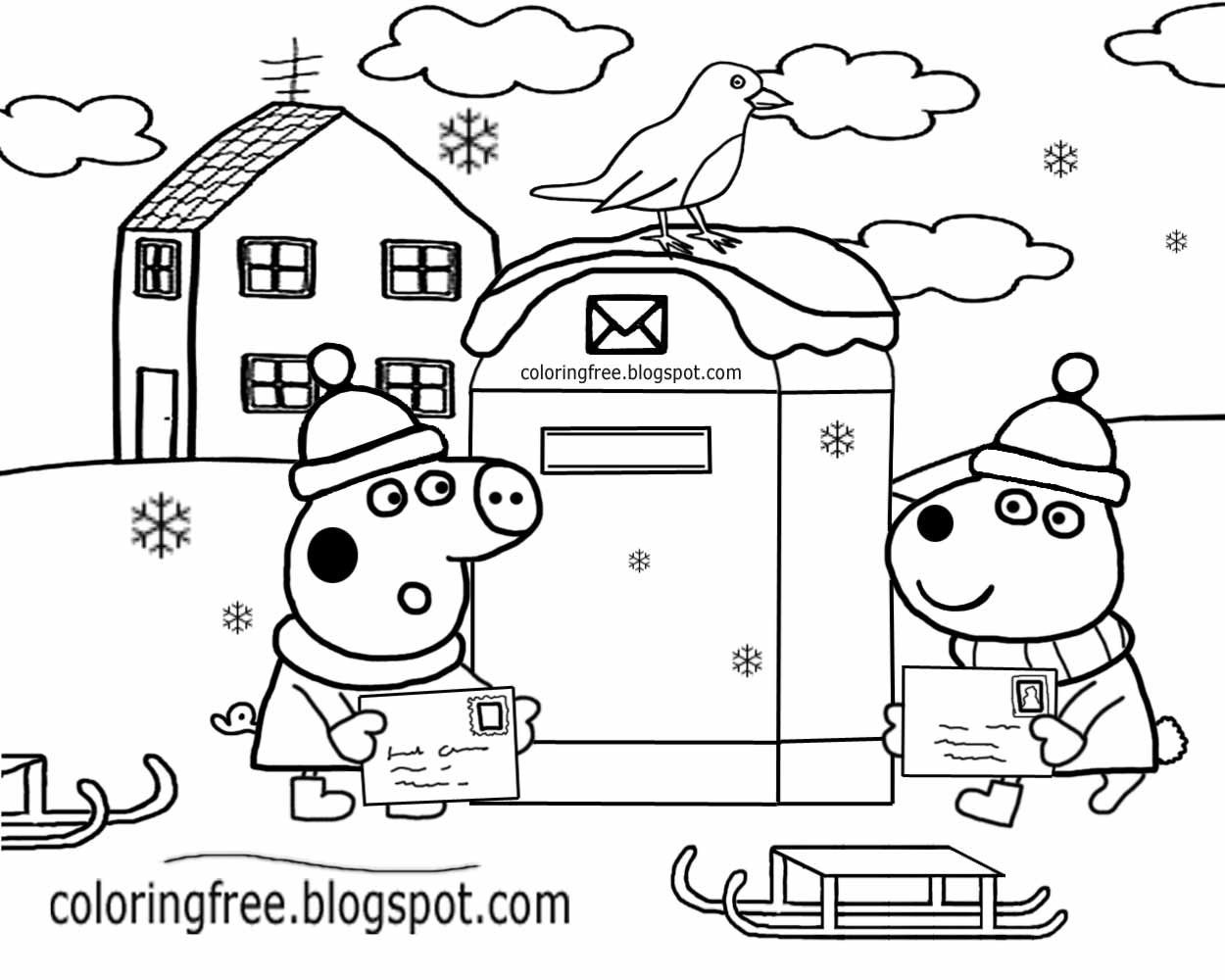 1250x1000 Easy Preschool Activity Cute Red Robin Bird Winter Scene Post Box