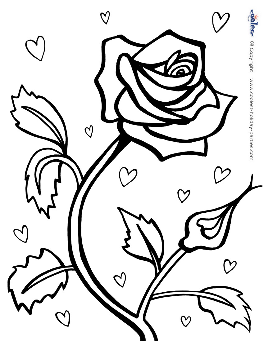850x1100 Printable Red Rose Valentines Coloring Pages Valentine Brilliant