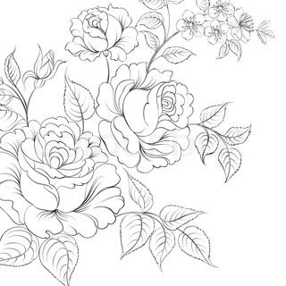 320x320 Red Rose In Cartoon Style For Tattoo Design Vector Illustration